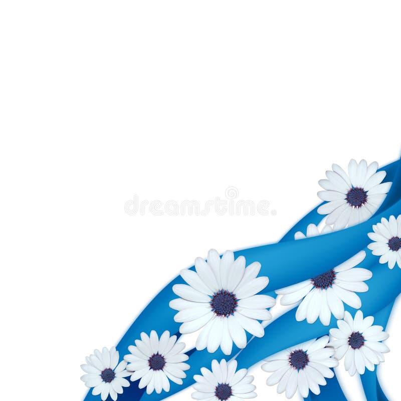 Blaue Farbbänder und Gänseblümchen vektor abbildung