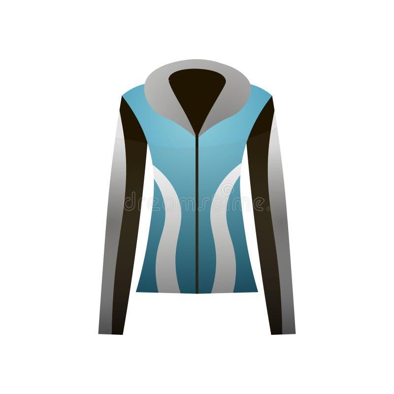 Blaue Farbe der Thermo Jacke des Winters mit grauem Entwurf lizenzfreie abbildung