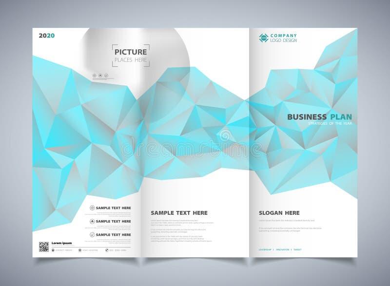 Blaue Farbe des Zusammenfassungspolygons des Broschürenschablonen-Entwurfshintergrundes Illustrationsvektor eps10 lizenzfreie abbildung