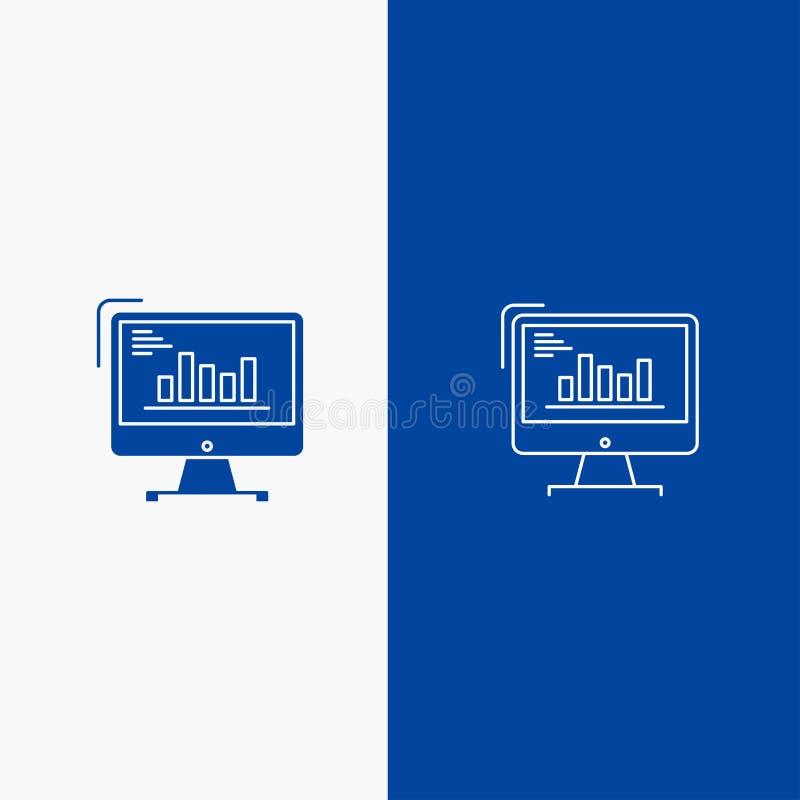 Blaue feste Ikone Linie und Glyph Fahne der festen Ikone des Diagramms, des Analytics, des Geschäfts, des Computers, des Diagramm vektor abbildung