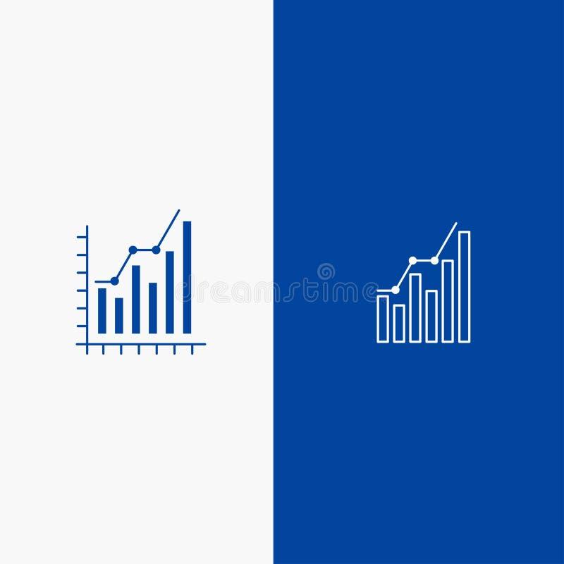 Blaue feste Ikone Linie und Glyph Fahne der festen Ikone des Diagramms, des Analytics, des Geschäfts, des Diagramms, des Marketin stock abbildung