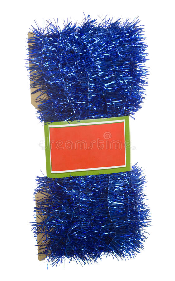 Blaue Filterstreifen-Girlande mit Marke lizenzfreies stockfoto