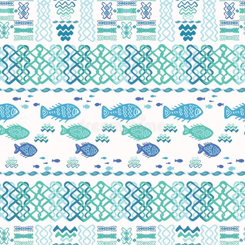 Blaue Fisch-Gekritzel-Collage lizenzfreie abbildung