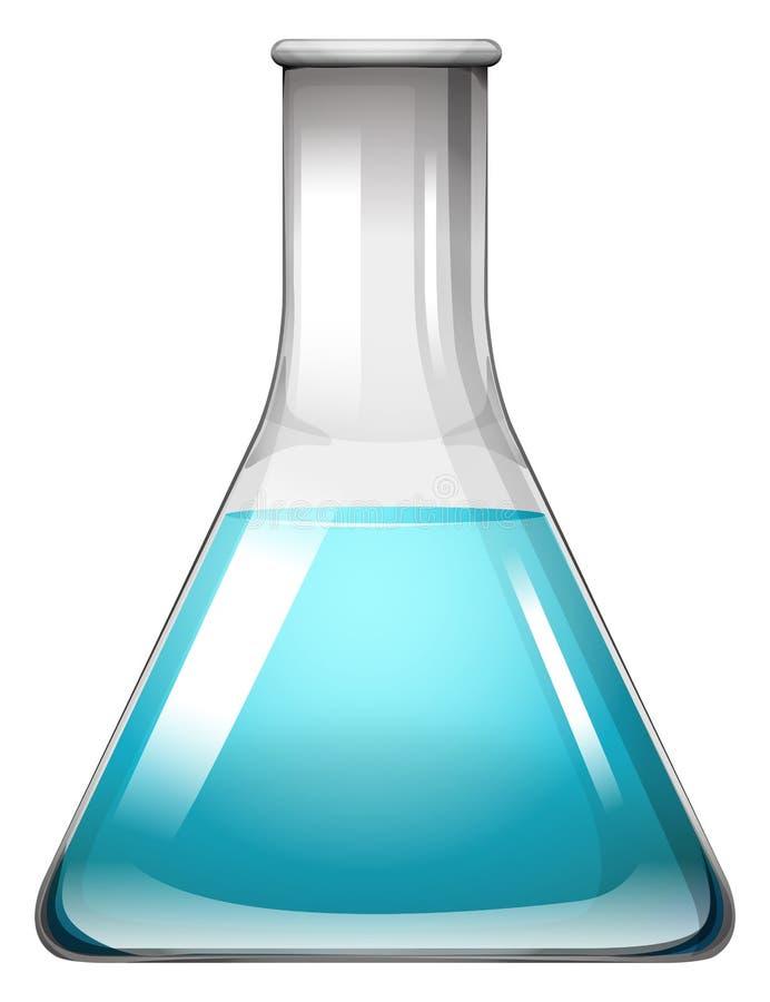Blaue Flüssigkeit im Behälter stock abbildung