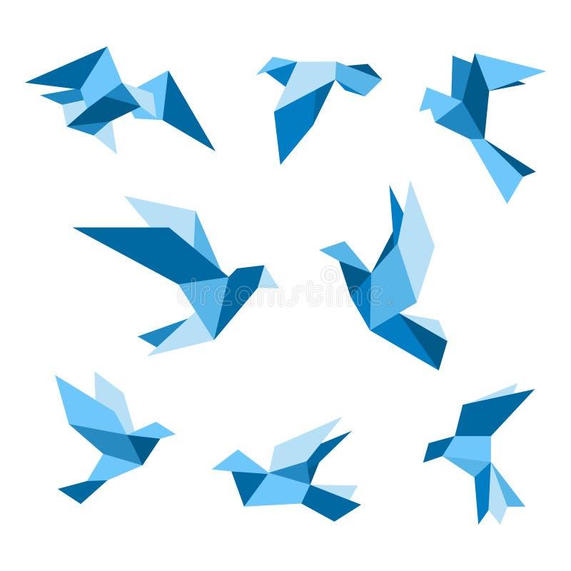 Blaue Fliegentauben- und -taubenvögel eingestellt lizenzfreie abbildung