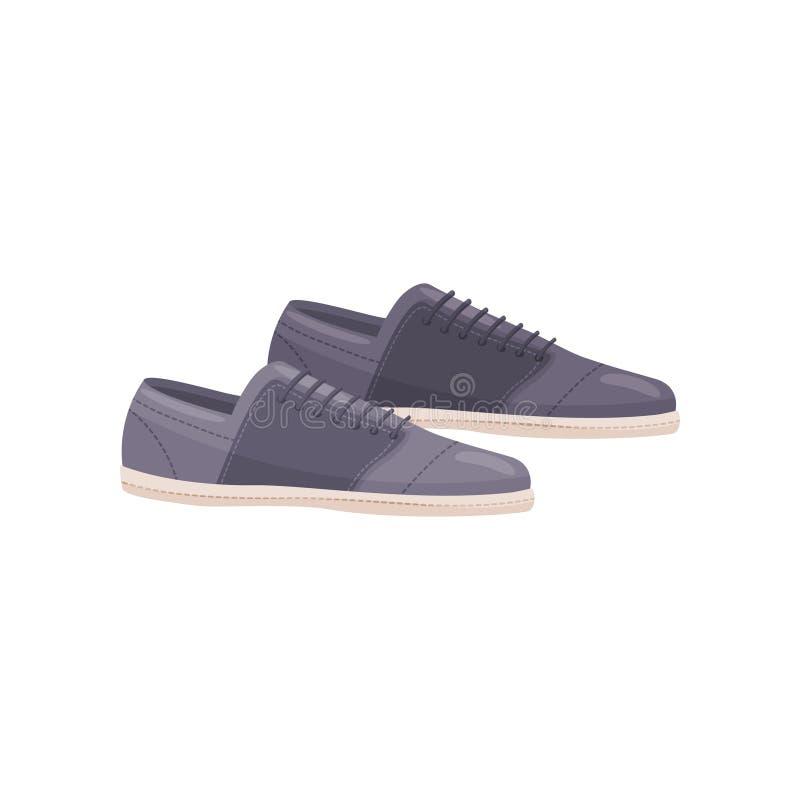 Blaue Freizeitschuhe mit Spitzeen Männliche Fußbekleidung Passen Sie von den Manntrainern zusammen Flaches Vektordesign stock abbildung