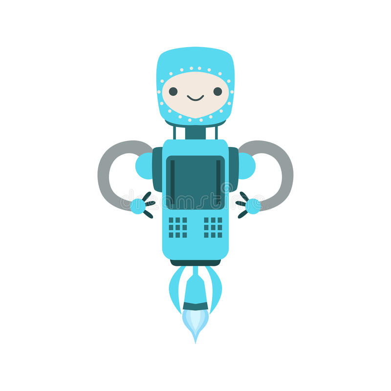 Blaue freundliche fliegende Android-Roboter-Charakter-Vektor-Karikatur-Illustration stock abbildung