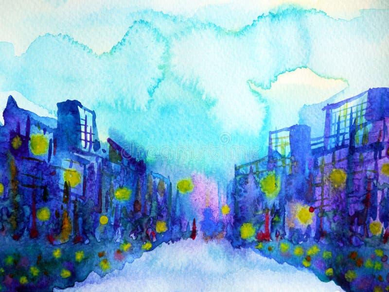 Blaue Gebäudestadt städtisch und Himmelhintergrundaquarellmalerei lizenzfreie abbildung