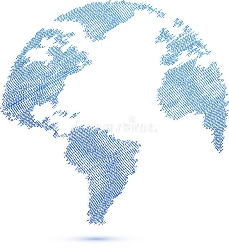 Blaue Gekritzelweltkugel-Kartenabbildung vektor abbildung