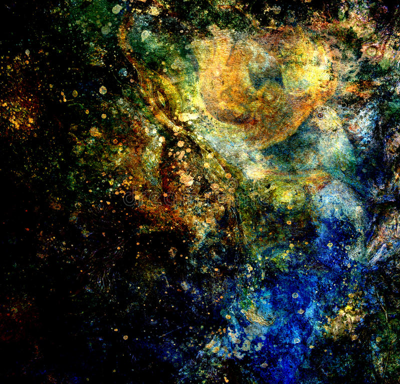 Blaue, gelbe und schwarze abstrakte Hintergrundmalereicollage lizenzfreie abbildung