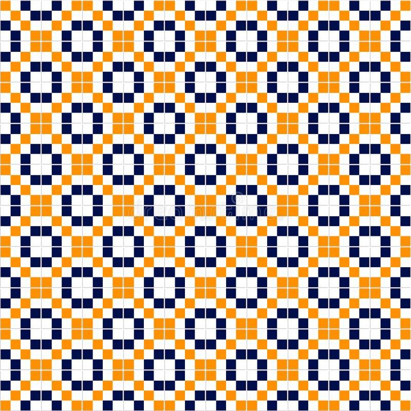 Blaue gelbe und weiße einfache Mosaikfliesen nahtloses Muster, Vektor lizenzfreie abbildung