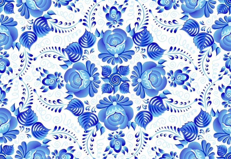 Blaue gemalte Blumen auf weißem Hintergrund in der nahtlosen Musterfliese des russischen traditionellen gzhel Artvektors vektor abbildung