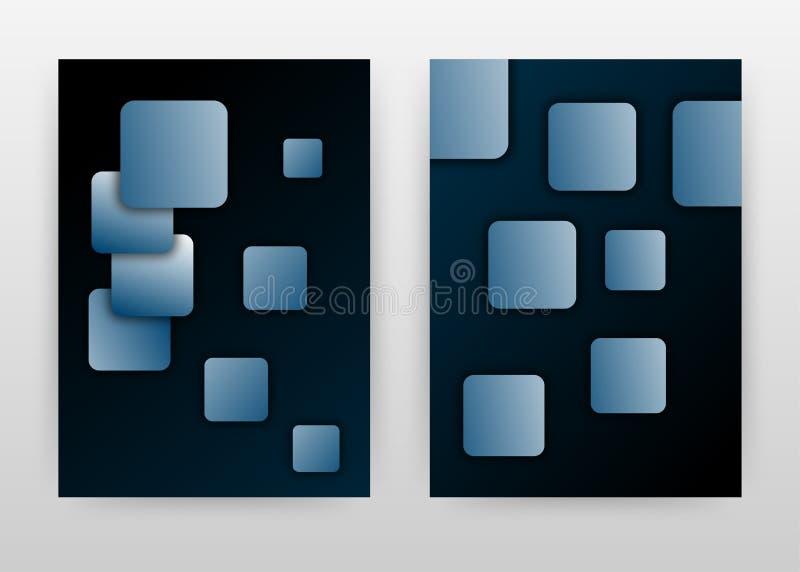 Blaue, geometrische Rechteckknöpfe auf schwarzem Design für den Jahresbericht, die Broschüre, den Flyer, die Broschüre, das Pl lizenzfreie abbildung