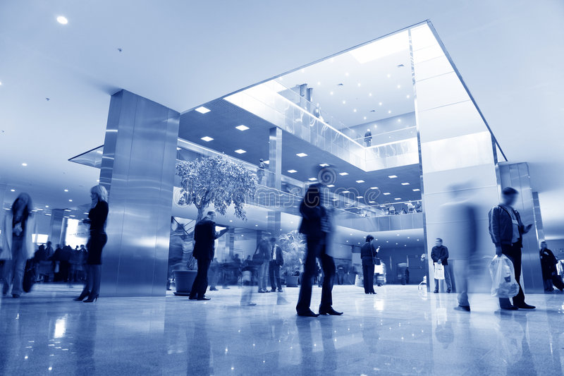 Blaue Geschäftshalle stockfotos