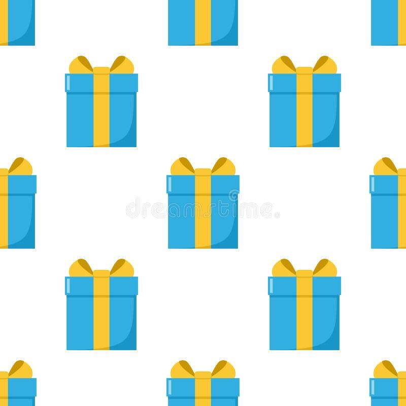 Blaue Geschenkbox-flache Ikonen-nahtloses Muster stock abbildung