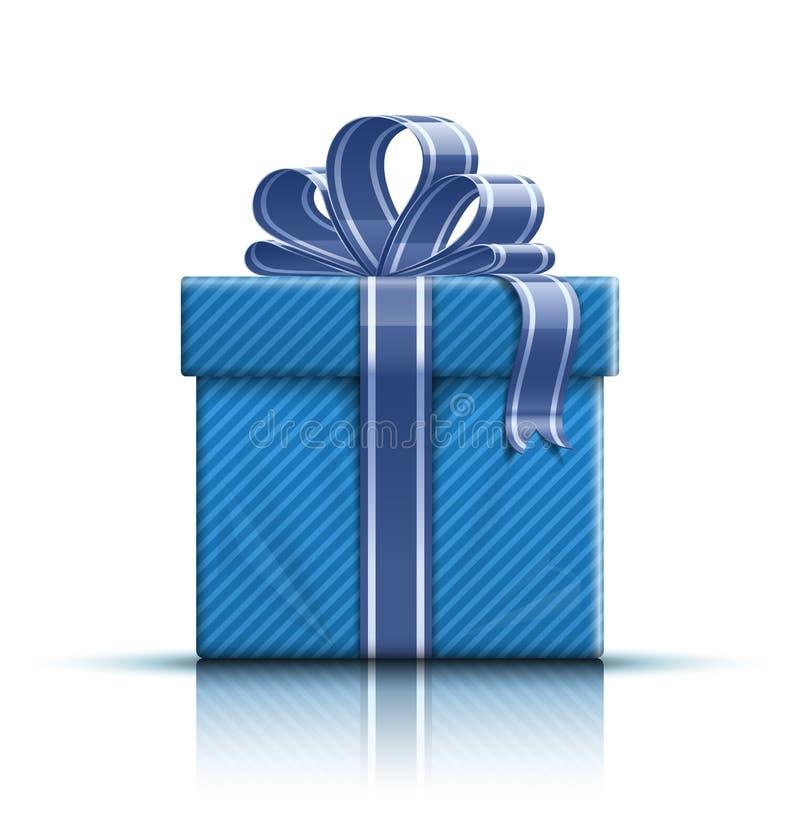 Blaue Geschenkbox mit Farbband und Bogen stock abbildung