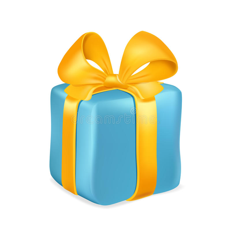 Blaue Geschenkbox mit gelbem Band und Bogen lokalisiert auf weißem Hintergrund Auch im corel abgehobenen Betrag stock abbildung