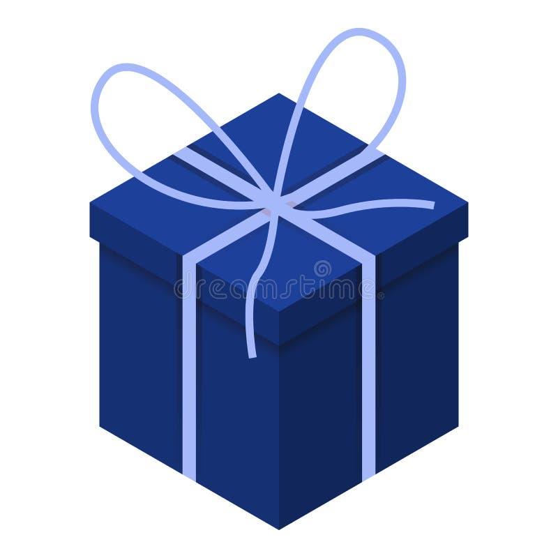 Blaue Geschenkboxikone, isometrische Art lizenzfreie abbildung