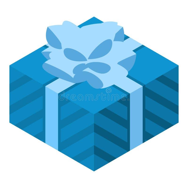 Blaue Geschenkboxikone, isometrische Art vektor abbildung