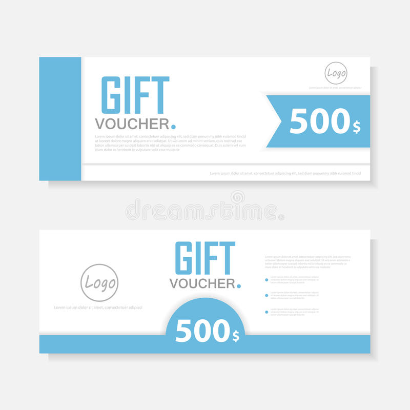 Blaue Geschenkgutscheinschablone mit buntem Muster, nette Geschenkgutscheinzertifikatkupon-Designschablone vektor abbildung