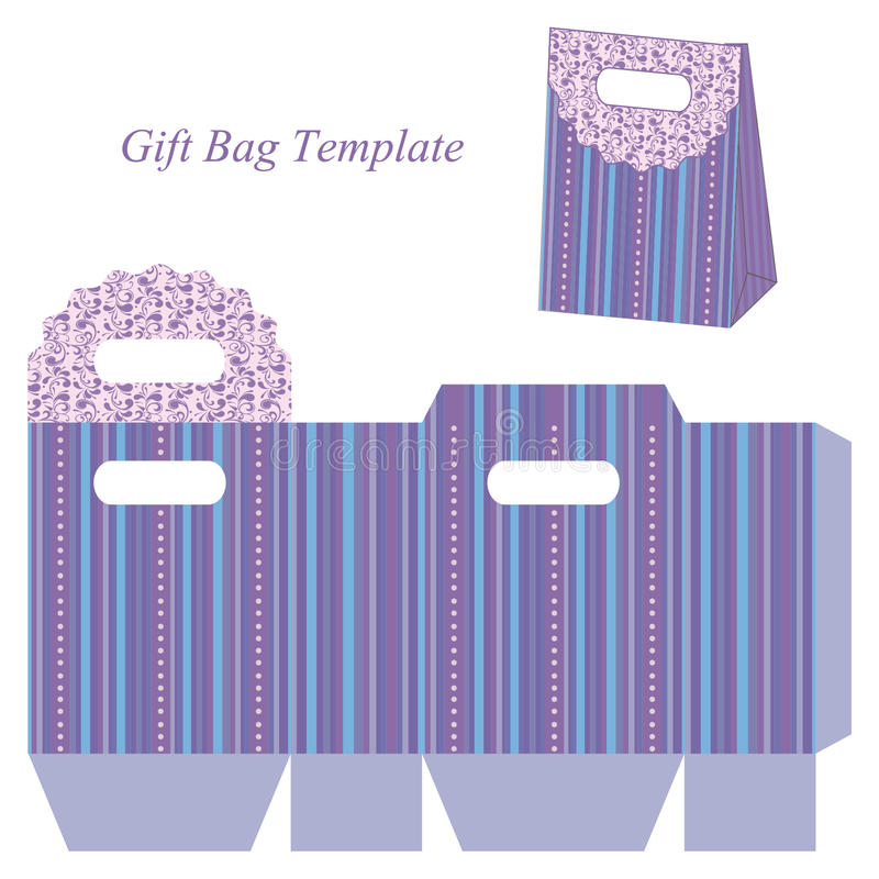 Blaue Geschenktaschenschablone mit Streifen und Punkten lizenzfreie abbildung