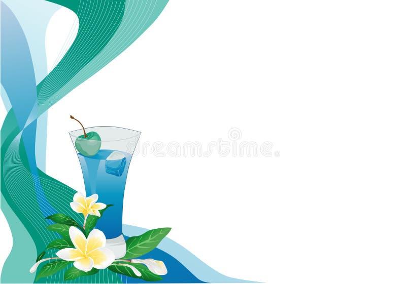 Blaue Getränkkarte mit Plumeria vektor abbildung