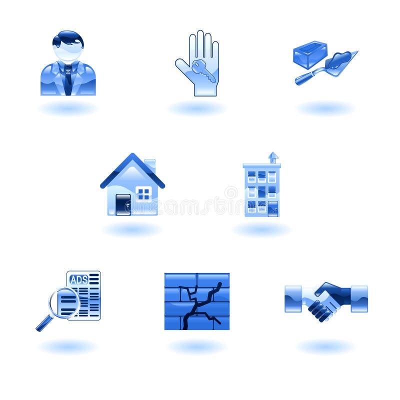 Blaue glänzende Grundbesitz-Ikonen lizenzfreie abbildung