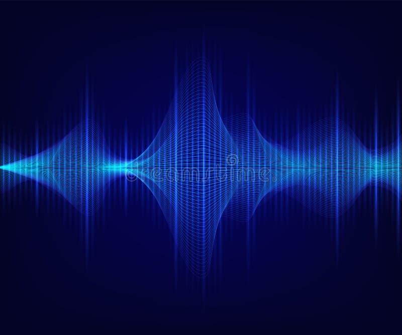 Blaue glänzende Schallwelle auf dunklem Hintergrund Vektor tecnology Illustration stock abbildung