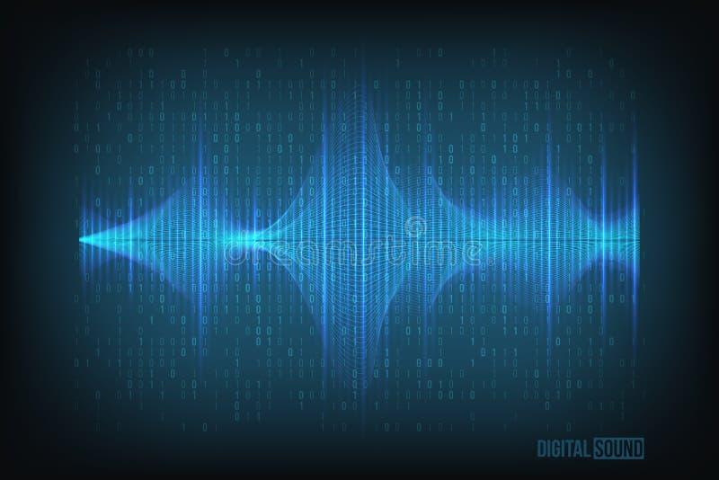 Blaue glänzende Schallwelle des Vektors auf dunkelblauem Technologiehintergrund stock abbildung