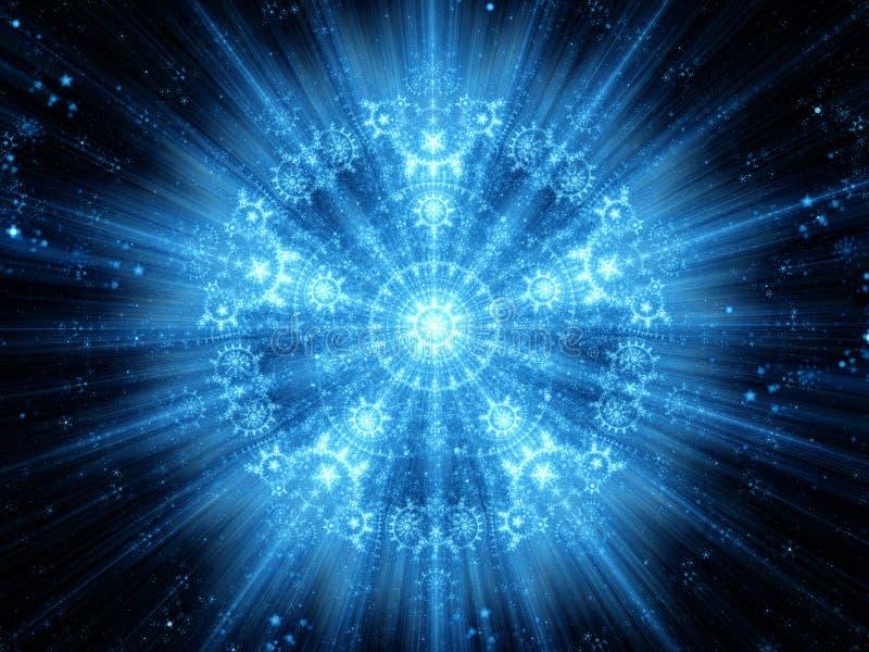 Blaue glühende Schneeflockenformmandala lizenzfreie abbildung