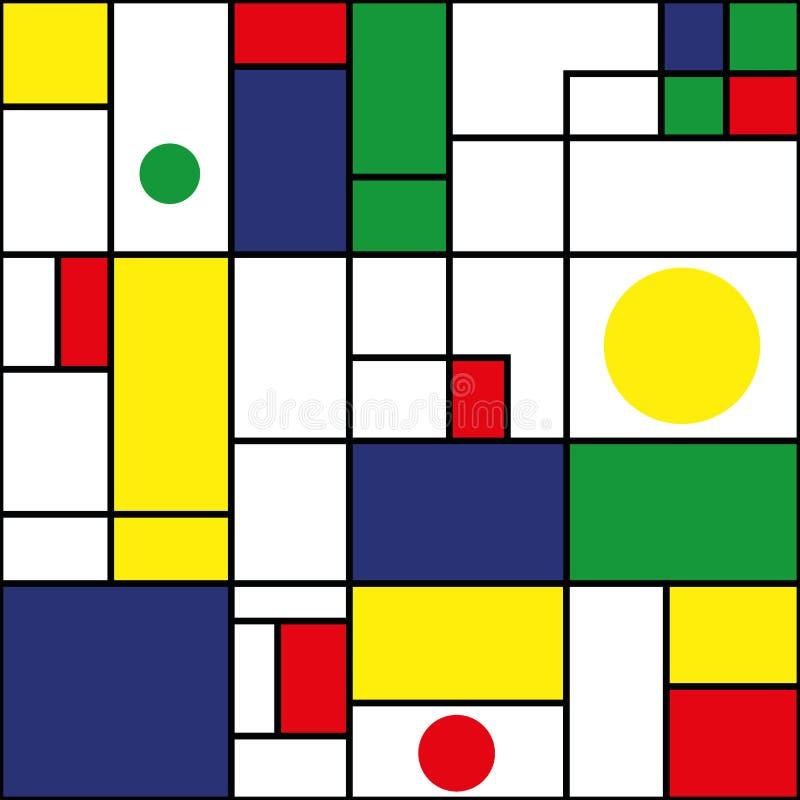 Blaue, grüne, rote, gelbe Rechtecke und Kreise mit schwarzen Entwürfen Nahtloses modernes abstraktes Vektormuster auf Weiß vektor abbildung
