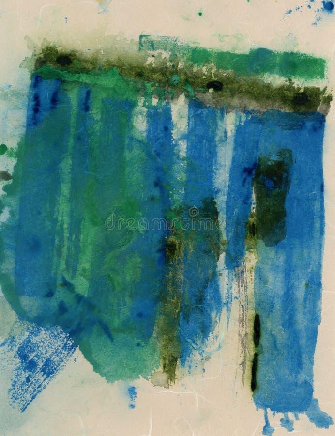 Blaue grüne und beige abstrakte Malerei lizenzfreie abbildung