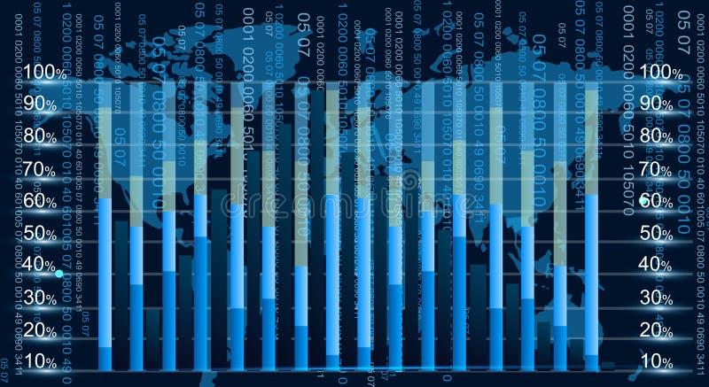 Blaue grafische Entzerrer-Anzeigenvektorillustration mit Kopienraum Geschäftsdiagramm in der flachen Art mit Weltkarte an stock abbildung