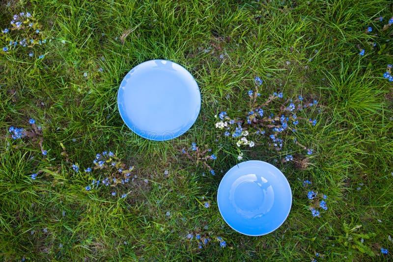 Blaue Grasteller, Sommerunkräuter, Picknick auf dem Gras stockfotos