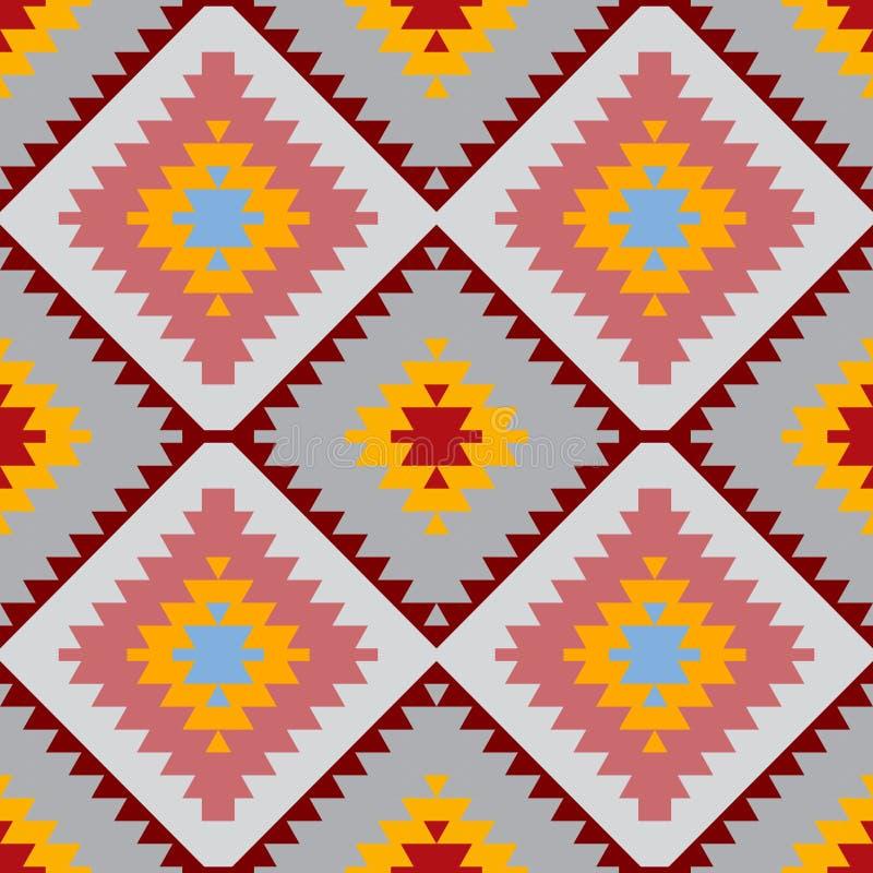 Blaue graue rosa Orange des nahtlosen Teppichs des Musters türkischen Patchworkmosaikorientale-kilim Wolldecke mit traditionellen lizenzfreie abbildung