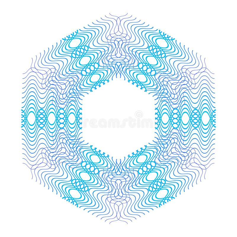 Blaue Guillocherosette oder Spirographhintergrundvektorillustration vektor abbildung