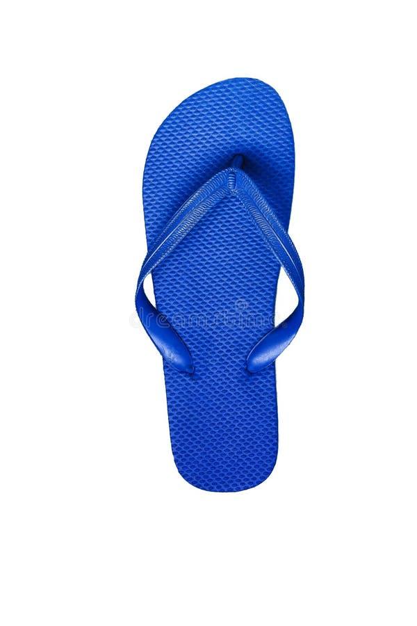 Blaue Gummiflipflops, lokalisiert auf weißem Hintergrund lizenzfreies stockfoto