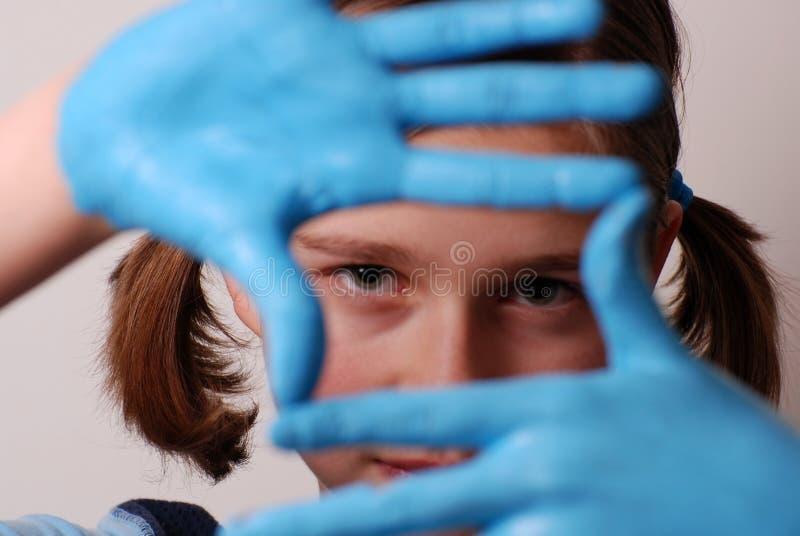 Blaue Hände lizenzfreie stockfotos