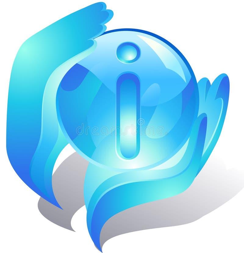 Blaue Hände, die Informationen schützen stock abbildung