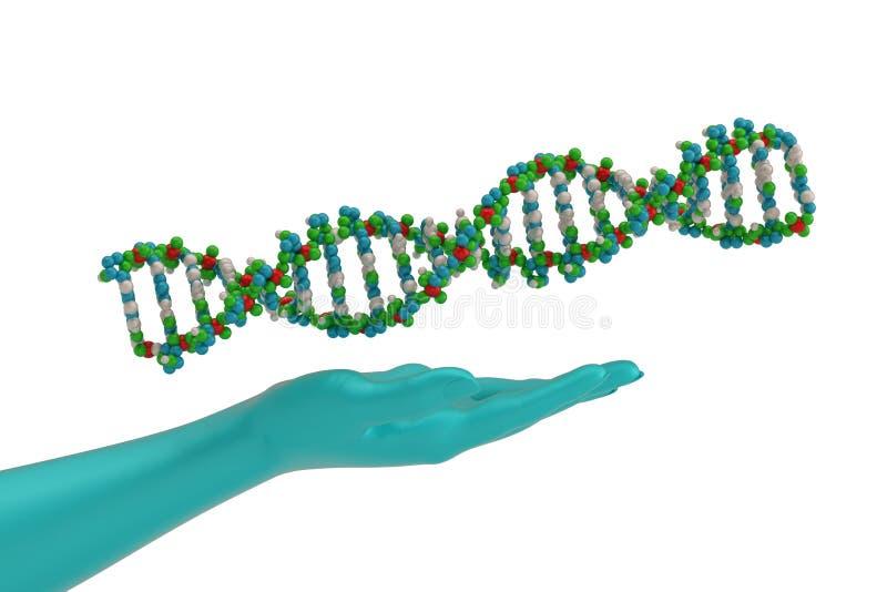 Blaue Hände und Gen lokalisiert auf weißer Illustration des Hintergrundes 3D vektor abbildung