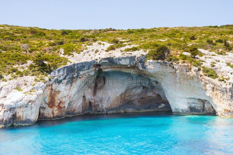 Blaue Höhlen auf Zakynthos-Insel lizenzfreie stockbilder