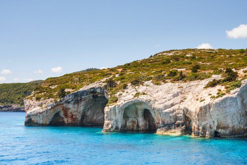Blaue Höhlen auf Zakynthos-Insel stockfoto