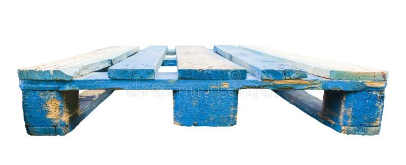 Blaue hölzerne Paletten für Frachttransport stockfotos
