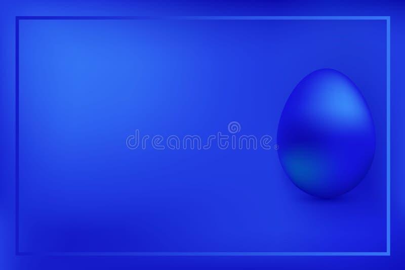 Blaue Hühnerei auf blauem Hintergrund mit Rahmen lizenzfreie stockfotos