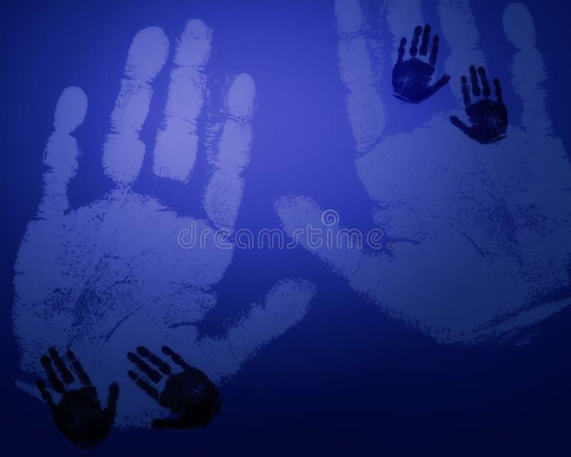 Blaue Handdrucke stock abbildung