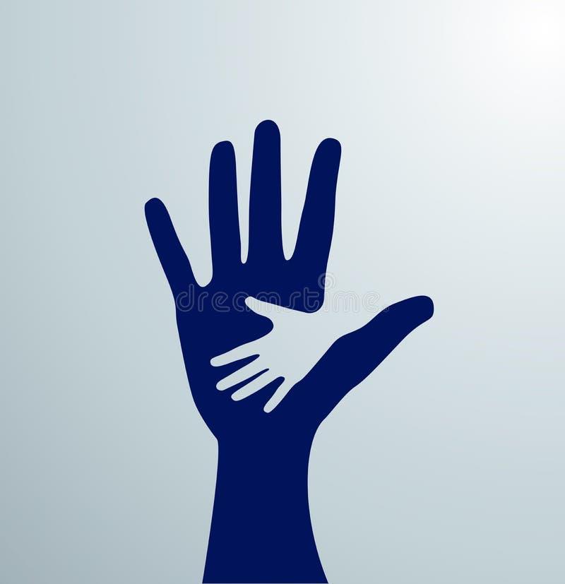 Blaue Handreichungen Idee des Zeichens für die Vereinigung von Sorgfalt - Hand in Hand Vektor stockfotos