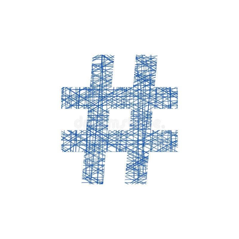 Blaue hashtag Ikone in der Skizzenart stock abbildung
