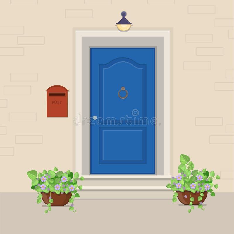 Blaue Haustür mit einem Briefkasten auf der Wand und den Blumen im PO vektor abbildung