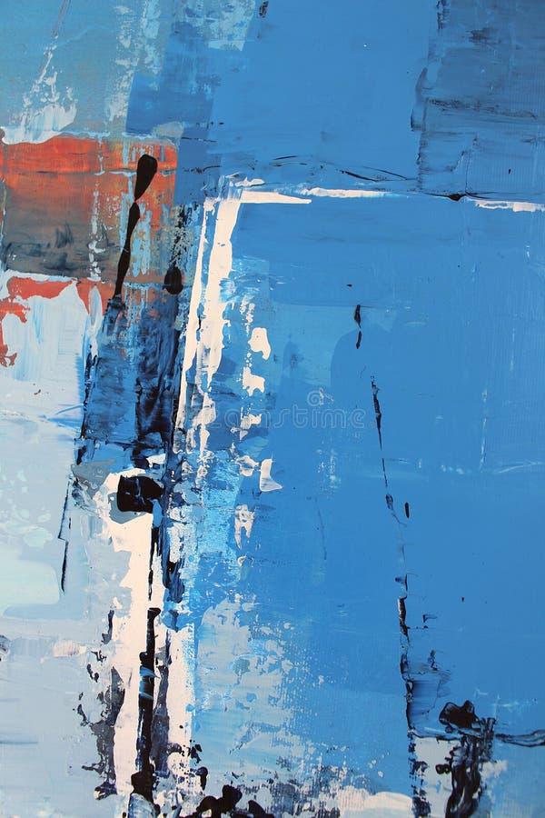 Blaue helle Farben auf Segeltuch Landschaft mit Fluss und Wald Hintergrund der abstrakten Kunst ?lgem?lde auf Segeltuch Farbbesch stock abbildung