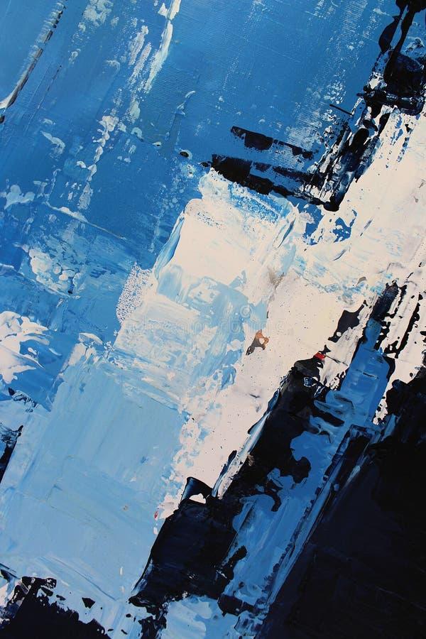 Blaue helle Farben auf Segeltuch Landschaft mit Fluss und Wald Hintergrund der abstrakten Kunst ?lgem?lde auf Segeltuch Farbbesch stockbild